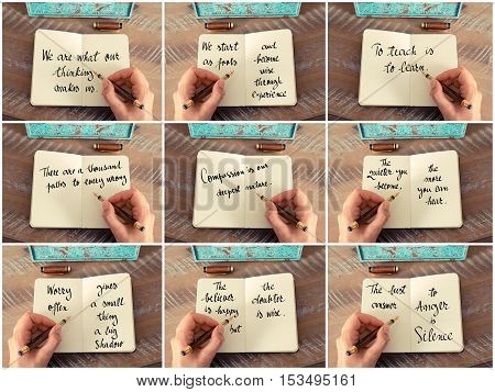 Photo Collage Of Handwritten Quotes On Notebook