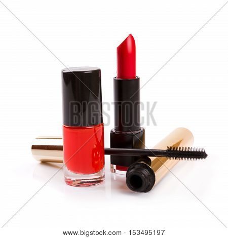 daily makeup cosmetics isolated on white background