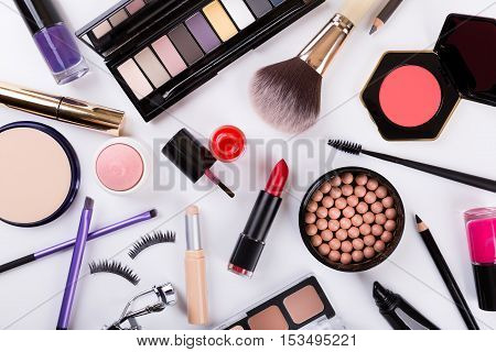 top view of makeup cosmetics set on white background