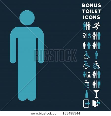 Man icon and bonus man and woman restroom symbols. Vector illustration style is flat iconic bicolor symbols, blue and white colors, dark blue background.