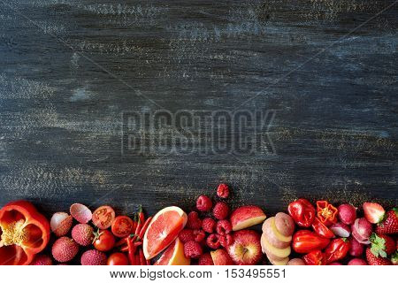 Healthy food fruit vegetables creating border, design friendly layout