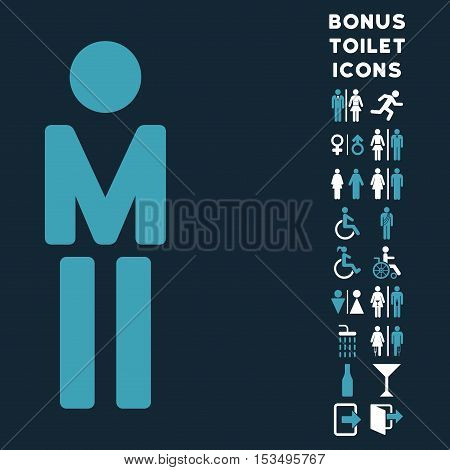 Man icon and bonus gentleman and woman toilet symbols. Vector illustration style is flat iconic bicolor symbols, blue and white colors, dark blue background.