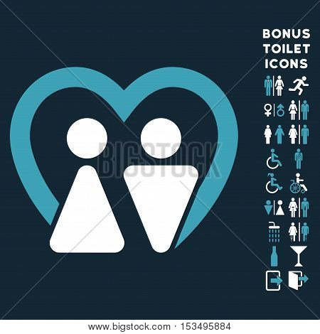 Marriage icon and bonus man and lady WC symbols. Vector illustration style is flat iconic bicolor symbols, blue and white colors, dark blue background.