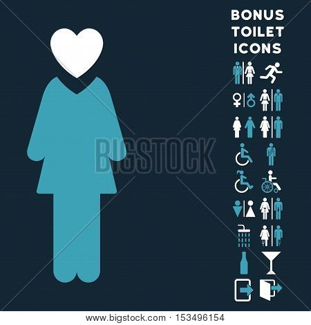 Mistress icon and bonus male and woman restroom symbols. Vector illustration style is flat iconic bicolor symbols, blue and white colors, dark blue background.