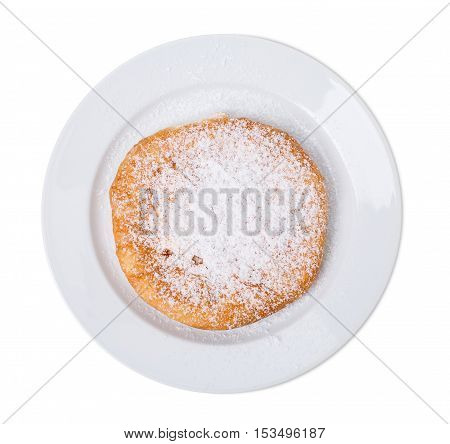 Delicious sweet pie with cottage cheese. Covered with sugar powder. Isolated on a white background.