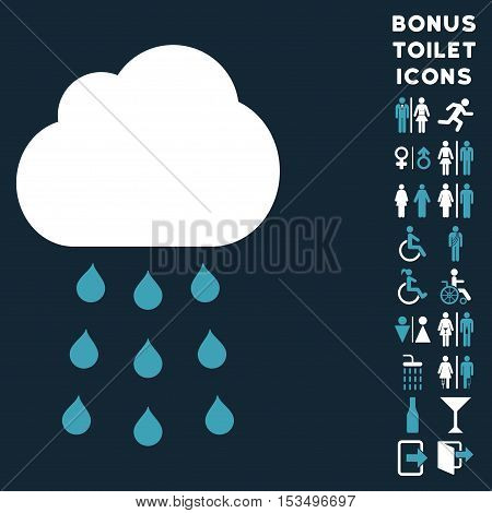 Rain Cloud icon and bonus male and woman lavatory symbols. Vector illustration style is flat iconic bicolor symbols, blue and white colors, dark blue background.