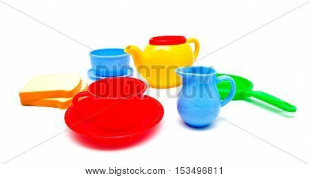 plastic; cup; white; food; child; objects; set; background;