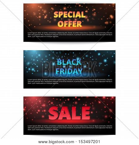 Set of banners advertising campaign. Black Friday sale. New Year discounts. Christmas shopping.
