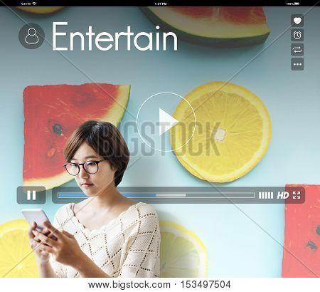 Music Player Streaming Watermelon Orange Concept