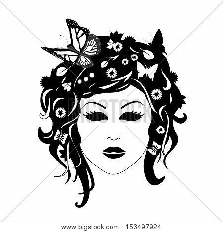 Vector woman with flowers in her hair, silhouette of female head