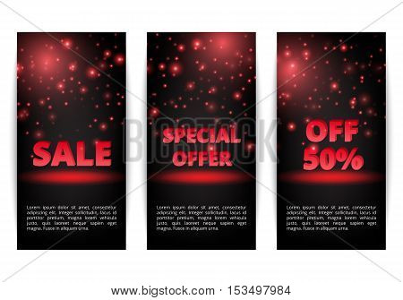 Set of banners holiday offer. Black Friday sale. Holiday shopping. Sell online.