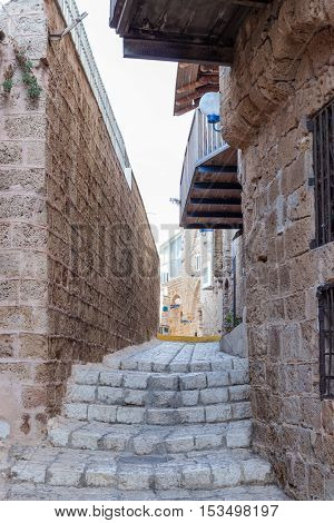 Quiet Street In Old City Yafo-israel