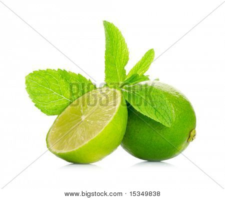 Limetten und Minze, isolated on white background