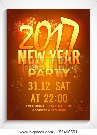 Golden Text 2017 New Year Party on snowflakes decorated shiny background. Can be used as template, banner, flyer or invitation card design.