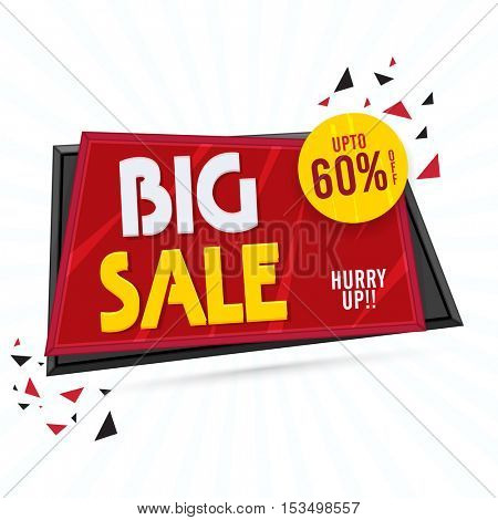 Big Sale, Creative Paper Tag with Discount Upto 60% Off, Useable for Poster, Banner or Flyer, Vector illustration.