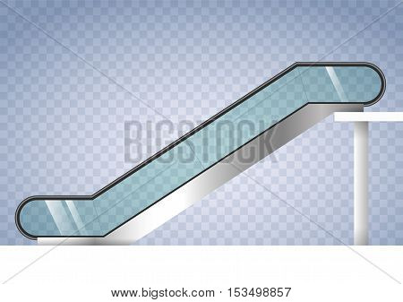 Escalator shopping center or office with transparent glass. Vector graphics