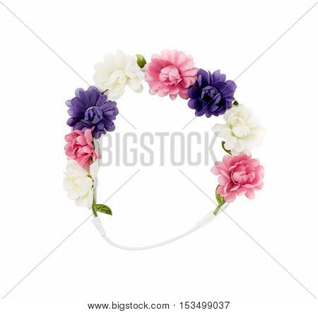 Hair band with artificial flowers. Isolated on a white background.