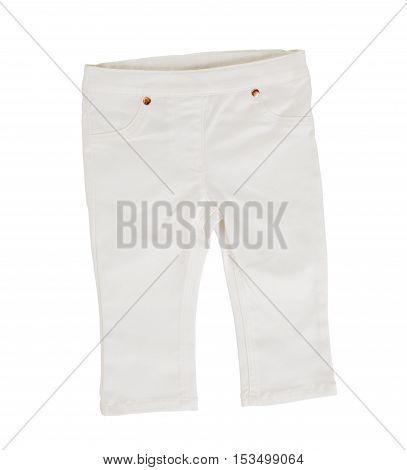 White denim shorts. Isolated on a white background.