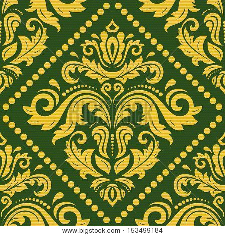Seamless oriental pattern in the style of baroque. Traditional classic ornament. Green and golden pattern