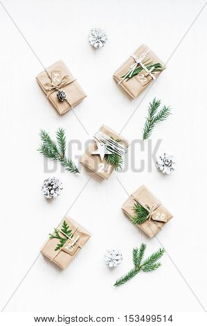 Christmas calendar. Christmas gift fir branches pine cones. Flat lay top view