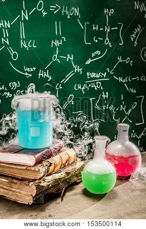 Closeup of dynamic chemical reaction on chemistry lessons