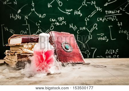 Closeup of magic potion created by chemistry