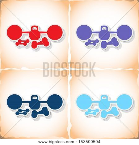 Barbell, athletic dumbbell. Flat sticker with shadow on old paper. Vector illustration