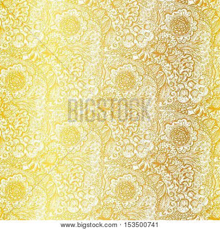 Floral doodle seamless wallpaper pattern. Illustration with paisley ornaments. Textile with hand-drawn flowers. Gold color.