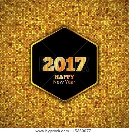 New Year 2017 Vector Background, Gold honeycomb hexagonal pattern