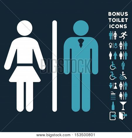 Toilet Persons icon and bonus man and woman lavatory symbols. Vector illustration style is flat iconic bicolor symbols, blue and white colors, dark blue background.