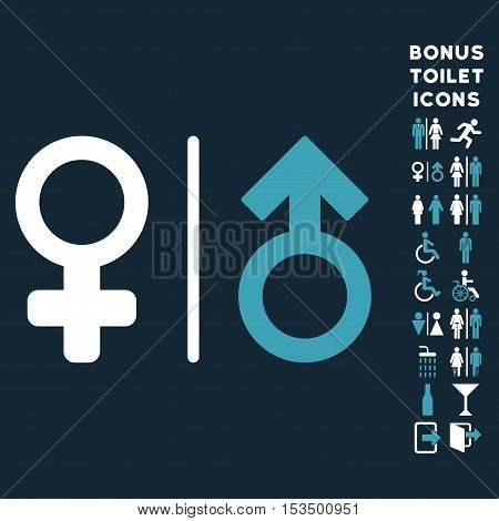 WC Gender Symbols icon and bonus male and woman WC symbols. Vector illustration style is flat iconic bicolor symbols, blue and white colors, dark blue background.