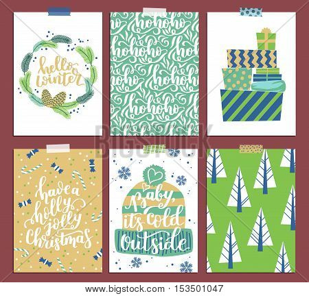 Vector Collection Of Christmas Card Templates. Christmas Posters Set In Cool Palette With Wreath, Pr