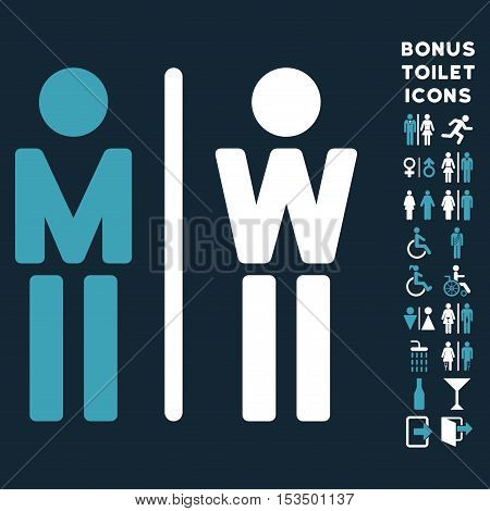 WC Persons icon and bonus male and female lavatory symbols. Vector illustration style is flat iconic bicolor symbols, blue and white colors, dark blue background.