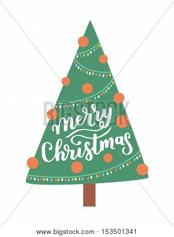 Vector Greeting Card With Christmas Tree On White Isolated Background And Hand Written Lettering Mer