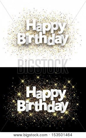 Happy birthday backgrounds with shining sand. Vector paper illustration.