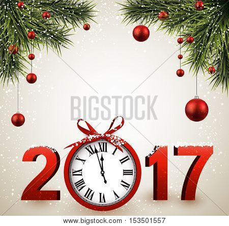 2017 New Year background with clock, fir and balls. Vector illustration.