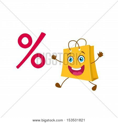 Funny cartoon shopping bag is running for a discount. Vectorsale  object isolated. Shopping bag icon.