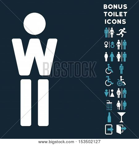 Woman icon and bonus male and female lavatory symbols. Vector illustration style is flat iconic bicolor symbols, blue and white colors, dark blue background.