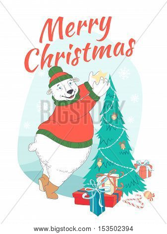 Merry Christmas Greeting Card Cute Polar Bear Wearing Knitted Sweater Ant Hat  Decorating Christmas
