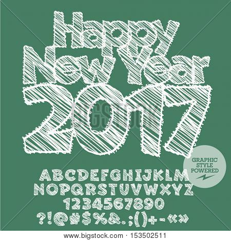 Vector white drawn Happy New Year 2017 greeting card with set of letters, symbols and numbers. File contains graphic styles