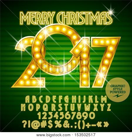 Vector light up sparkling Merry Christmas 2017 greeting card with set of letters, symbols and numbers. File contains graphic styles