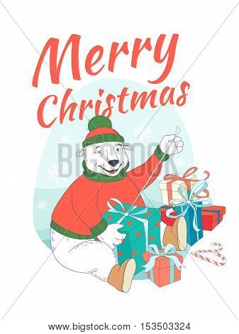 Merry Christmas Greeting Card Cute Polar Bear Wearing Knitted Sweater Ant Hat  Opening Presents. Han