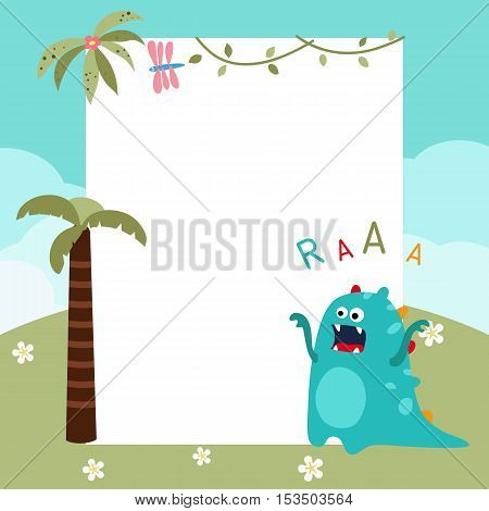 Frame with cartoon dinosaur. Funny card with empty space for text