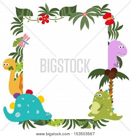 Frame with cartoon dinosaurs. Funny card with empty space for text