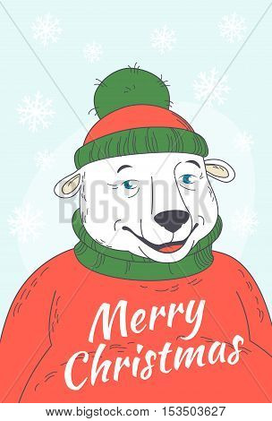 Cute Merry Christmas Greeting Card  With Polar Bear Wearing Sweater And Hat Portrait