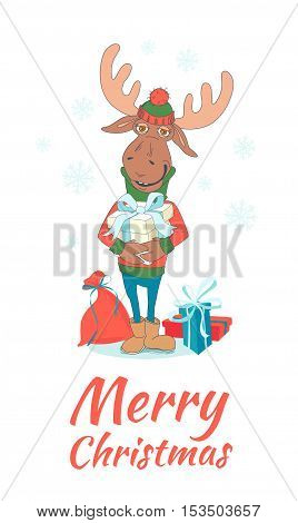 Cute Merry Christmas And Happy New Year Card With Deer (elk, Moose). Lovely Cartoon Background With