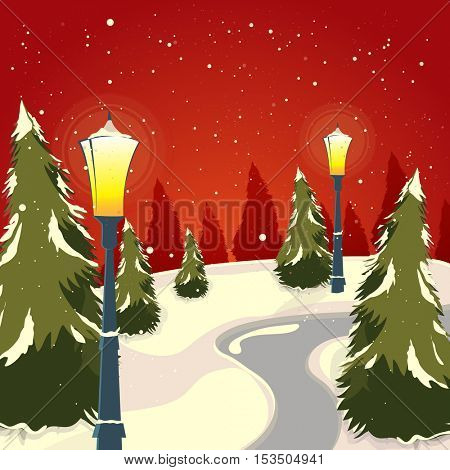 Snowy winter background with Xmas Trees and lamp posts for Merry Christmas celebration.
