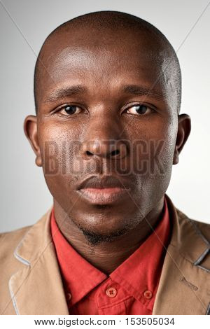 Portrait of black african man with no expression ID or passport photo