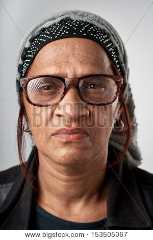 Portrait of real black african woman with no expression ID or passport photo