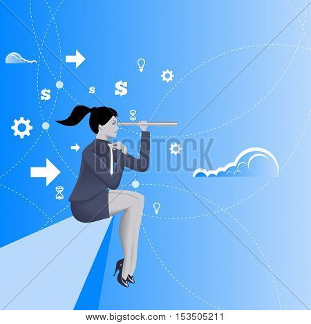 Courage business concept. Pensive business lady in business suit with looking glass in her hand sitting sit on the edge of the cliff. Vector illustration. Use as background or any any other design.